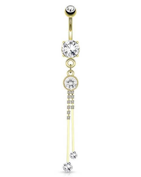 Oceľový piercing do brucha zlatej farby, číre zirkóny, lesklé paličky na retiazkach