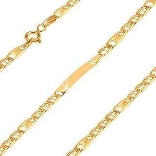 Náramok zo žltého 14K zlata - oválne očká s tyčinkou, článok s obdlžníkom