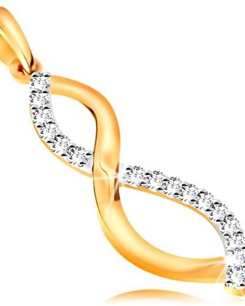 Dvojfarebný zlatý 14K prívesok - hladká a zirkónová zvlnená línia