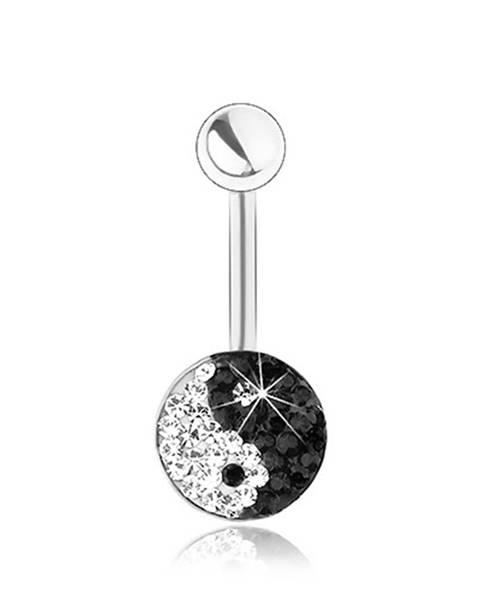 Piercing z chirurgickej ocele, strieborná farba, ligotavý symbol Jin a Jang, zirkóniky