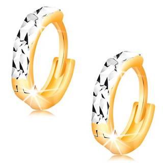 Náušnice zo 14K zlata - krúžky s ligotavými zárezmi a bielym zlatom