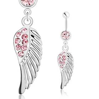 Piercing do pupka, oceľ 316L, anjelské krídlo, strieborný odtieň, ružové zirkóniky