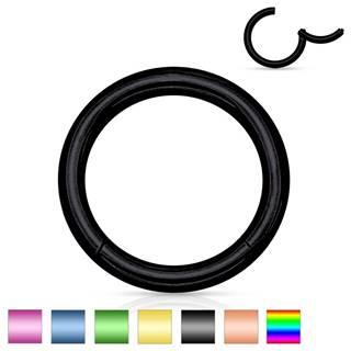 Piercing do nosa a ucha z chirurgickej ocele - jednoduchý lesklý krúžok, 0,8 mm - Farba piercing: Čierna