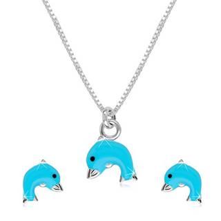 Strieborný 925 dvojset - náhrdelník a náušnice, delfínik s modrou glazúrou