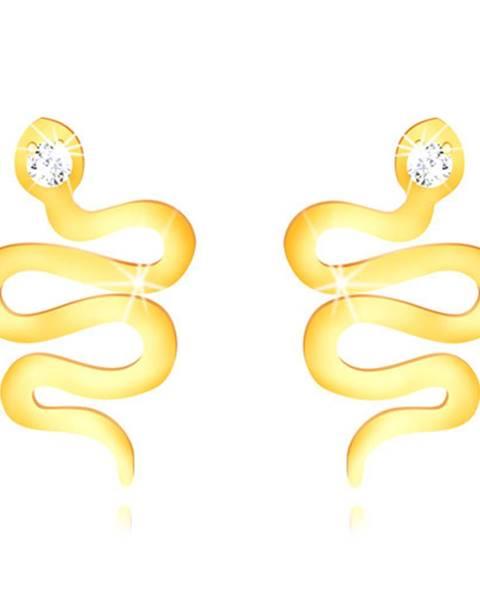 Zlaté 375 puzetové náušnice - zvlnený lesklý hadík so zirkónovou hlavičkou