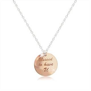 """Náhrdelník zo striebra 925 - medailónik medenej farby, nápis """"Blessed to have U"""", lesklé srdiečko"""