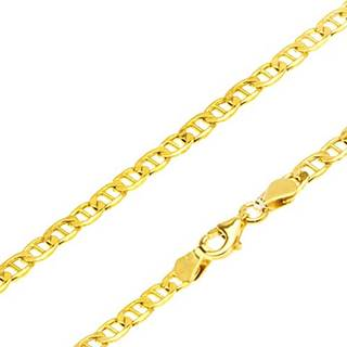 Retiazka zo žltého 14K zlata - ploché elipsovité očká, palička uprostred, 600 mm