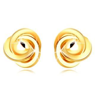 Zlaté 9K náušnice - tri prepletené prstence s hladkou guľôčkou, puzetky