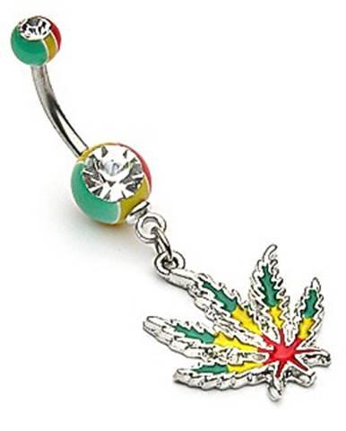 Oceľový piercing do pupka - list konope v rasta farbách, zirkóny