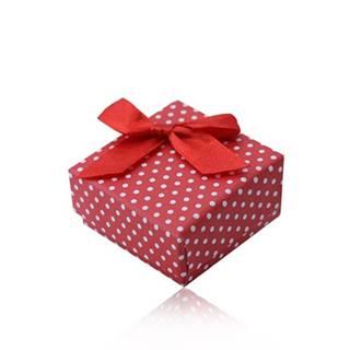 Červená darčeková krabička na prsteň alebo náušnice, biele bodky, mašlička