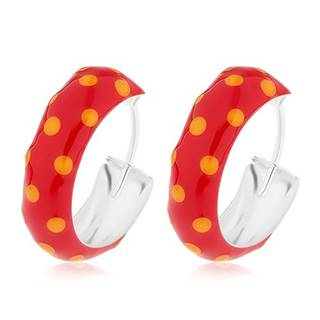 Okrúhle strieborné 925 náušnice, červená glazúra s oranžovými bodkami, 14 mm
