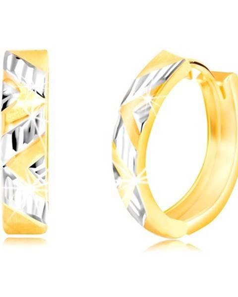 Náušnice z 585 kombinovaného zlata so šikmo vybrúseným motívom