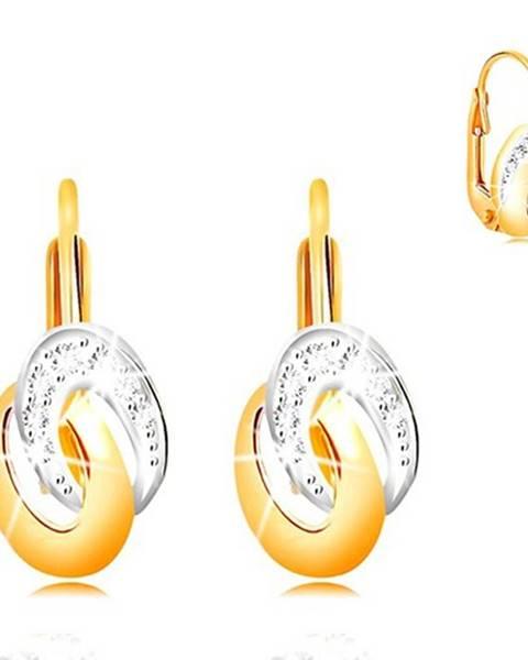 Náušnice zo zlata 585 - dvojfarebné prepojené elipsy, číre zirkóny
