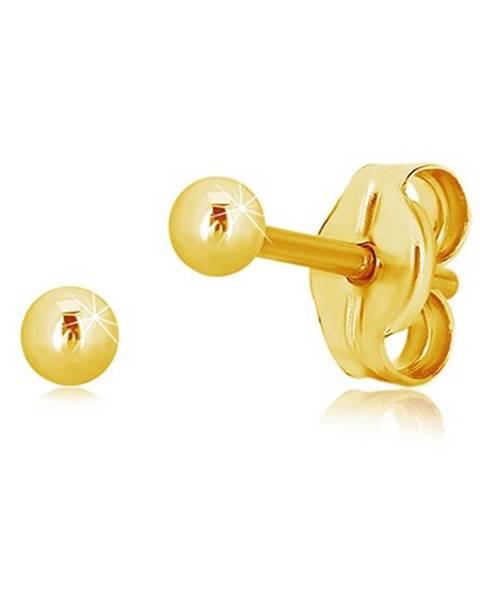 Náušnice zo žltého 14K zlata - jednoduchá lesklá guľôčka, 2,5 mm