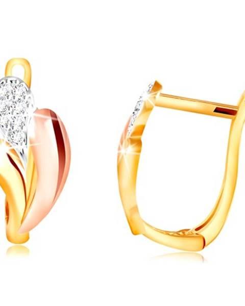Zlaté náušnice 585 - lesklé slzičky zo žltého, ružového a bieleho zlata, zirkóny