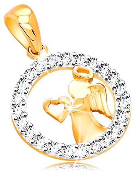 Zlatý prívesok 585 - lesklý anjelik so srdiečkom, zirkónová kontúra kruhu