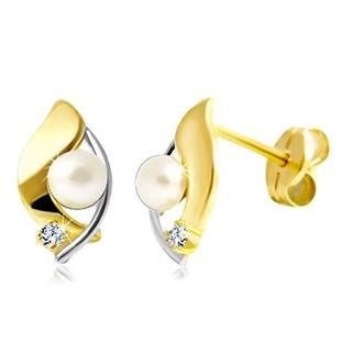 Briliantové náušnice zo 14K zlata, dvojfarebné zrnko, číry briliant a biela perla