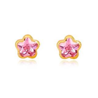 Náušnice zo žltého 9K zlata - kontúra kvetu, brúsený zirkón ružovej farby