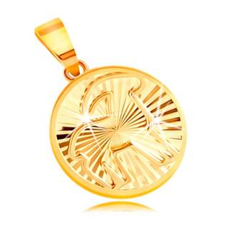 Prívesok zo žltého 14K zlata - lesklý kruh s lúčovitými zárezmi - KOZOROŽEC