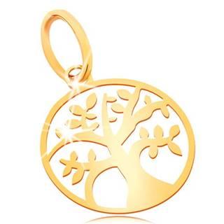 Prívesok zo žltého zlata 585 - malý lesklý plochý strom života v kruhu