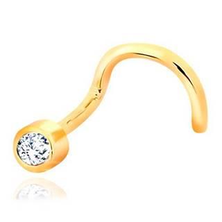 Zahnutý piercing do nosa zo žltého zlata 585 - číry ligotavý zirkón v objímke