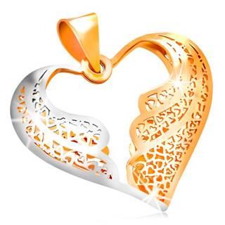 Zlatý prívesok 585 - filigránové srdce s dvojfarebnými anjelskými krídlami