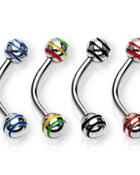 Oceľový piercing do obočia - lesklé guličky s troma pásikmi - Rozmer: 1,2 mm x 10 mm x 4 mm, Farba zirkónu: Červená - R