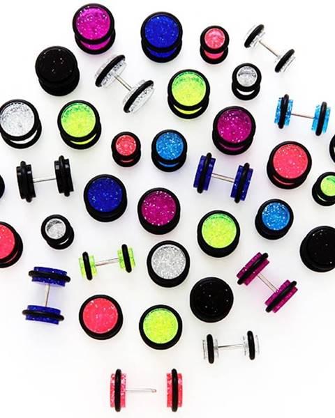 Trblietavý falošný plug s čiernymi gumičkami - Veľkosť hlavičky: 10 mm, Farba piercing: Modrá