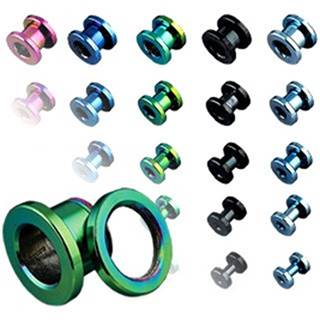 Tunel do ucha z titánu, anodizovaný, viac farebný so šrubovaním - Hrúbka: 1,6 mm, Farba piercing: Modrá