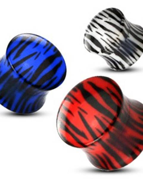 Sedlový plug do ucha z akrylu, tigrovaný vzor - Hrúbka: 10 mm, Farba: Červená