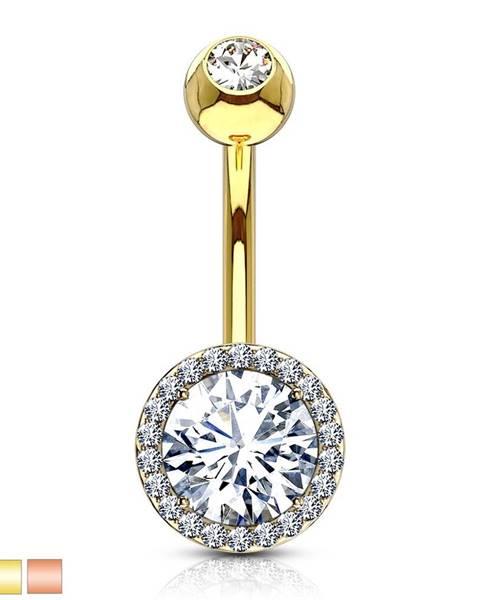 Oceľový piercing do brucha - trblietavý zirkón v kotlíku, menšie zirkóniky - Farba piercing: Medená