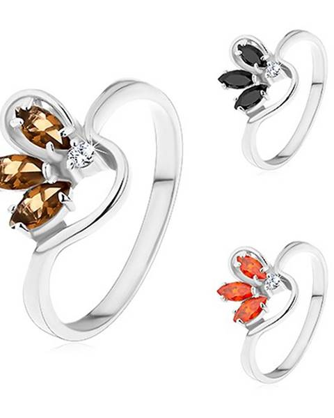 Prsteň striebornej farby, zvlnené ramená, polovičný farebný kvet zo zirkónov - Veľkosť: 49 mm, Farba: Hnedá
