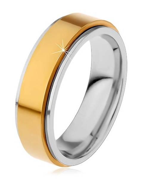Prsteň z chirurgickej ocele, vyvýšený otáčavý pás zlatej farby, úzke okraje - Veľkosť: 49 mm