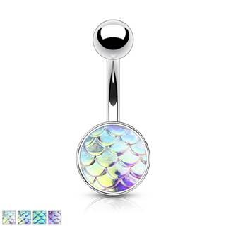 Oceľový piercing do bruška - 3D rybie šupiny s dúhovým efektom - Farba piercing: Dúhová