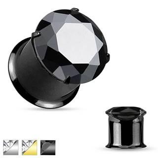 Oceľový tunel do ucha, lesklý hladký povrch, trblietavý zirkón - Hrúbka: 10 mm, Farba piercing: Čierna