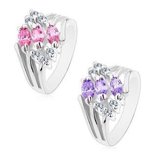 Prsteň s rozvetvenými ramenami, zdobený čírymi zirkónmi a farebnými zrnkami - Veľkosť: 49 mm, Farba: Ružová