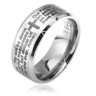 Prsteň z chirurgickej ocele striebornej farby, skosené okraje, modlitba Otčenáš, 6 mm - Veľkosť: 49 mm