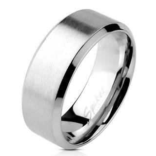 Prsteň z ocele - matný pásik v strede, lesklé línie po okrajoch, 6 mm - Veľkosť: 49 mm