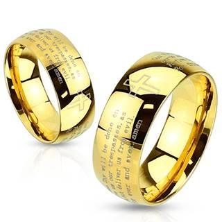 Prsteň z ocele zlatej farby - modlitba Otčenáš a krížik, 8 mm - Veľkosť: 59 mm